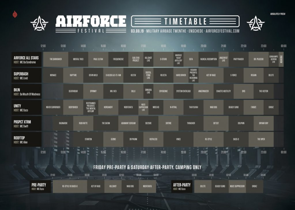 Timetable – AIRFORCE Festival 2019 – Destined to Diverge